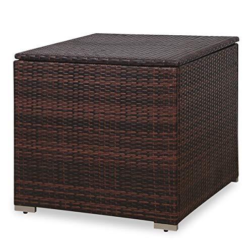 SVITA Kissenbox 75x75x64 cm für Polyrattan Lounge Lugano/California Ergänzung Rattan Braun Grau oder Schwarz (Braun)