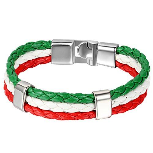 JewelryWe Schmuck Armband, Italienische Italien Flagge Armreif, Leder Legierung, für Herren Damen, Grün Weiss Rot