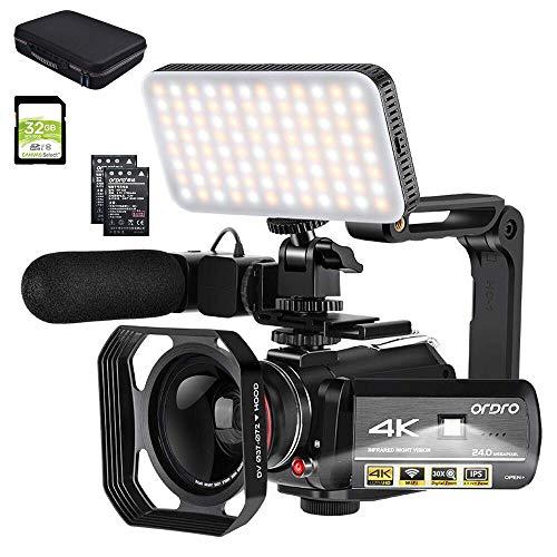 ORDRO Camcorder 4k-Videokamera 1080P 60FPS IR-Nachtsicht-Videorecorder 3,1-Zoll-IPS-Touchscreen-WiFi-Camcorder mit Mikrofon, LED-Videolicht, Weitwinkelobjektiv, Tragetasche und 32 GB SD-Karte