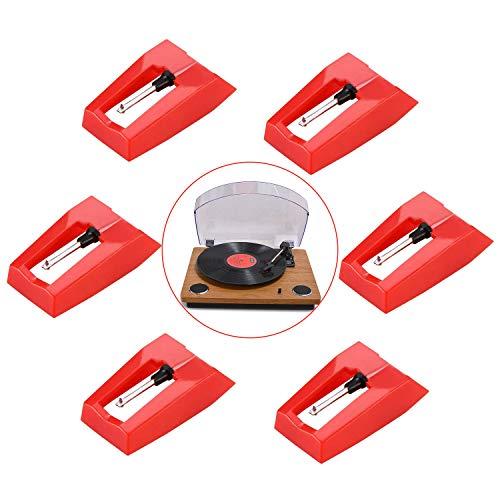 LATTCURE Plattenspieler Nadel, 6 Stück Ersatznadel für Plattenspieler Tonnadel Nadel Eingabestift, Schallplattenspieler Nadel, Ersatznadel, Stylus Nadel für Meiste Plattenspieler Phonograph, Vinyl
