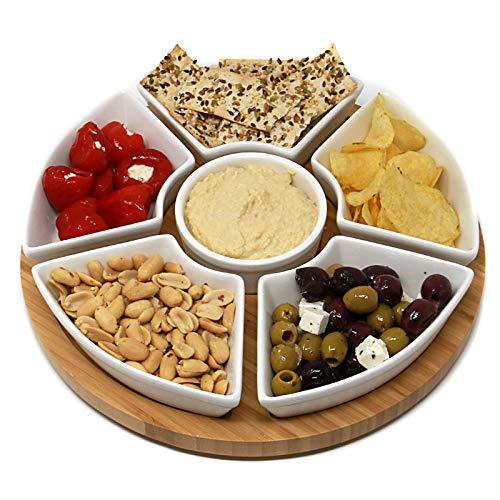 Rotierende Lazy Susan Dip Set | Bamboo Dreh Servierplatte mit 6 Keramikschale Snack Schüsseln | Ideal für Dips, Appetizer & Snacks | M&W