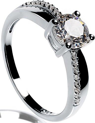 Lars Benz Damen-Ring Verlobungsring Silber 925 Swarovski Zirkonia 1,4 Karat 48-mm