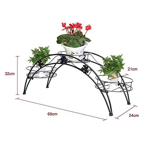 Elegante Arch Design Eisen Pflanzenständer / Blumentöpfe Regal / dekorative Blumenkasten Stand Blumenhocker Regal (Schwarz)