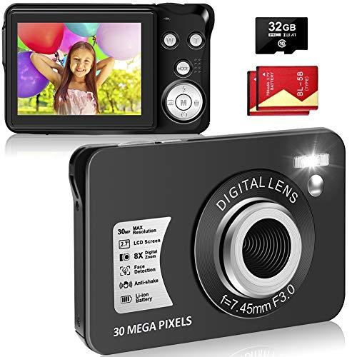 Digitalkamera, Kompaktkamera 30MP 2,7-Zoll- mit 8X Digitalzoom Fotoapparat Digitalkamera mit 32 GB SD-Karte und 2 Batterien (Schwarz)