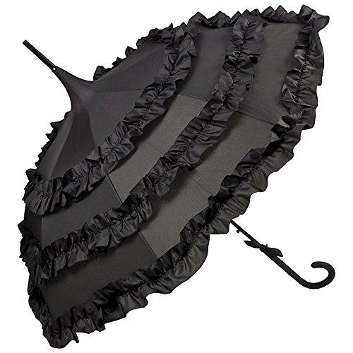 VON LILIENFELD Regenschirm Damen Sonnenschirm Brautschirm Hochzeitsschirm Pagode Automatik Rüsche Lilly schwarz
