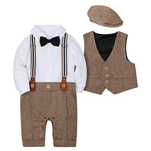 CARETOO Baby Jungen Bekleidungssets 3tlg Strampler + Weste + Hut Fliege Krawatte Gentleman Set Baby Taufe Anzug,braun 90