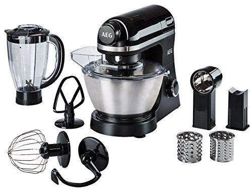 AEG KM 3300 Küchenmaschine (1 PS, 6 Geschwindigkeitsstufen, Pulse-Funktion, inkl. Umfangreiches Zubehör und aufsetzbarer Standmixer, 4 l Edelstahl-Rührschüssel mit Spritzschutz, Saugfüße, schwarz)