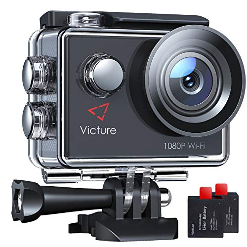 Victure Action Cam 14MP WI-Fi Full HD 1080P wasserdichte Sport Action Kamera 30M Unterwasserkamera mit 2 Zoll LCD-Bildschirm 170 Weitwinkel-Objektiv 2 Akkus und Montage-Zubehör-Kits
