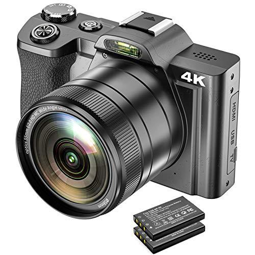 Digitale Videokamera 4K-Camcorder 48MP WiFi YouTube-Vlogging-Kamera mit Weitwinkelobjektiv 16-facher Digitalzoom 3,5-Zoll-IPS-Kamerarecorder mit 180 ° Drehung