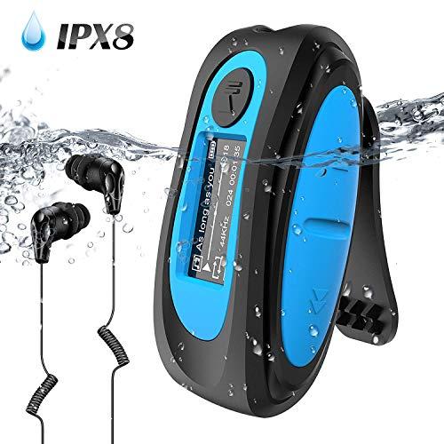 AGPTEK IPX8 Wasserdicht MP3 Player, 8GB HiFi MP3 Musik Player zum Schwimmen und Laufen, mit wasserdicht Kopfhörer, Audiokabel und 3 Paar Ohrstöpsel (L/M/S), unterstützt FM, Shuffle Funktion, Blau