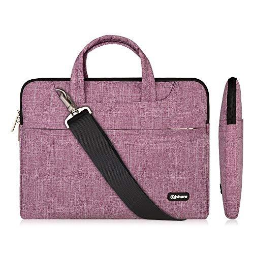 Qishare 11,6-12 Zoll Laptoptasche, multifunktionale Laptoptasche für Damen Herren, Verstellbarer Schultergurt und unterdrückter Griff, tragbarer Dokumentenordner (11,6-12-Zoll Lila Linien)