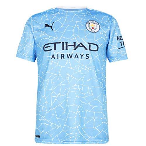 PUMA Herren, Trikot 20/21 Home Manchester City FC Replica with Sponsor Logo T-shirt, Team Light Blue-Peacoat, L