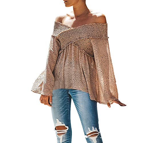 Sweatshirt Damen Kolylong® Frauen Vintage V-Ausschnitt Bluse mit Punkten Elegant Bandage Langarm Shirts Festlich Oberteil Reizvoller Hemdblusen T-Shirt Tunika Tops (XL, Khaki)