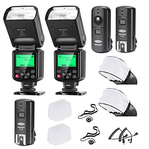 Neewer 2er-Pack 750II TTL-Blitz mit LCD Display Kit für Nikon DSLR Kameras Enthält: (2)750II TTL-Blitz (1)2,4G Wireless Triggerset (2)Soft/Hard Diffusor (2)Linsenkappenhalter