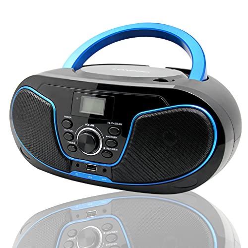 LONPOO CD Player Tragbar Boombox Radio mit Bluetooth, UKW, USB Eingang & AUX & Kopfhörern Ports, 2 x 2 Watt RMS Stereoanlage