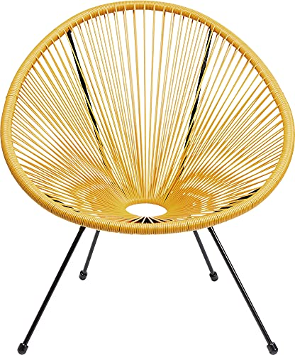 Kare Design Sessel Acapulco Gelb, moderner Acapulco Sessel, Gartenstuhl, Outdoorstuhl, Relaxsessel, Stuhl, Wetterfest, XXL Retro Chillsessel Outdoorgeeignet (H/B/T) 85x73x78cm