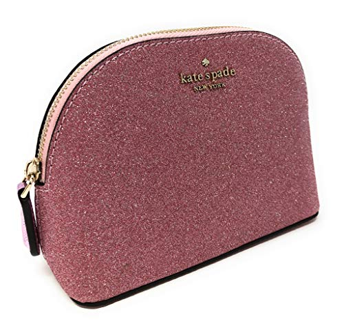 Kate Sapde New York Small Dome Cosmetic Make-Up Clutch Bag Glitter Pink