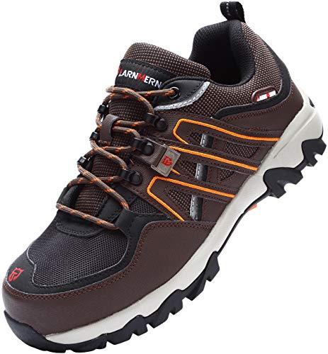 LARNMERN Arbeitsschuhe Herren,Sicherheit Stahlkappe Sicherheitsschuhe Stahlsohle Anti-Perforations Luftdurchlässige Schuhe von Arbeiten (43 EU,Braun)