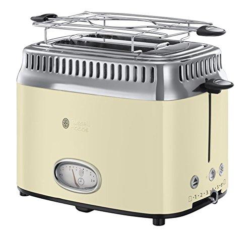 Russell Hobbs Toaster Retro creme, Retro Countdown-Anzeige, inkl. Brötchenaufsatz, 6 einstellbare Bräunungsstufen + Auftau- & Aufwärmfunktion, Schnell-Toast-Technologie, 1300W, Vintage 21682-56