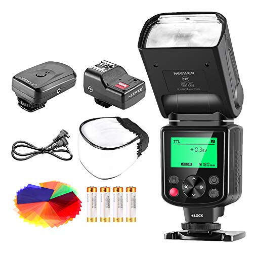 Neewer PRO i-TTL-Blitz * Deluxe Set * für NIKON DSLR D7100 D7000 D5300 D5200 D5100 D5000 D3200 D3100 D3300 D90 D800 D700 D300 D610 D300S, D600, D4 D3 D3X D3S D200 N90s F5 F6 F100 F90 F90X D4S D-SLR Kamera, eingeschlossen: (1) Neewer 750II iTTL Blitzgerät für Nikon + (1) Universal-Mini Blitz Bounce Diffuser Kappe + (1) 35-teilige Farbgel Filter + (1) Blitz-Diffusor + (1) 16 Kanäle Wireless Servo-Blitzauslöser + (4) LR-Batterie