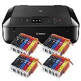 Canon Pixma MG5750 MG-5750 All-in-One Farbtintenstrahl-Multifunktionsgerät (Drucker, Scanner, Kopierer, USB, WLAN, Apple AirPrint) schwarz + 20er Set IC-Office XL Tintenpatronen 570XL 571XL