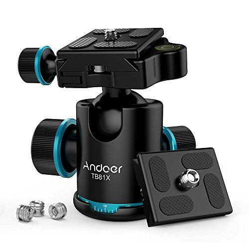 Andoer TB81X Kugelkopf Stativkopf 360 Grad Panorama Kugelkopf für Stativ Einbeinstativ Slider DSLR-Kamera (3pcs Schraube Adapter und 2ST Platte )