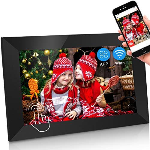 Jimwey Digitaler Bilderrahmen WLAN Elektronischer Fotorahmen WiFi mit 10 Zoll 1280P IPS Full HD Touchscreen 16GB Cloud Speicher Automatische Drehung, Foto Video über App aus Handy sofort teilen