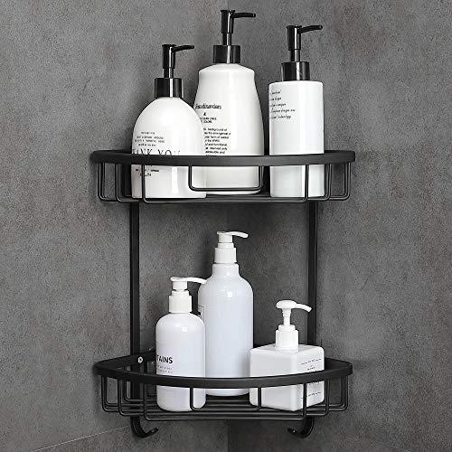 Gricol Eckablage Duschkorb Ohne Bohren Aluminium Mit Haken Duschregal Badregal Selbstklebender für Bad und Küche 2 Stück (Schwarz)