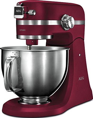 AEG KM 5520 Küchenmaschine (Inkl. Zubehör, 1,6 PS, 10 Geschwindigkeitsstufen, Pulsfunktion, LED-Licht, Aromadeckel, Voll-Metall-Gehäuse, 4,8 l und 2,9 l Edelstahl-Rührschüsseln mit Spritzschutz, rot)