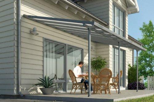 Hochwertige graue ALU Terrassenüberdachung/Veranda - 550 x 300 (BxT) / Überdachung Palram Feria Grau