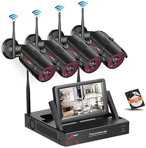 ANRAN Überwachungskamera Set WLAN, 2MP 4CH Drahtlose Überwachungskamera System mit 7 Zoll Monitor Videorekorder 1TB Festplatte 4Stk 1080P Wasserfeste IP Kameras für Außen Innen Nachtsicht Bewegungsmelder
