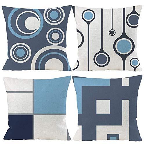 Gspirit 4er Set Kissenbezug Dekorative Dekokissen Kissenhülle Modern Blau Geometrisch Muster Baumwolle Leinen Werfen Sie Kissenbezüge 45x45 cm