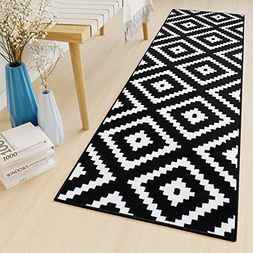 TAPISO Luxury Teppich Läufer Meterware Flur Küche Korridor Kurzflor Brücke Schwarz Weiß Karo Modern Marokkanisch Geometrisch ÖKOTEX 70 x 150 cm