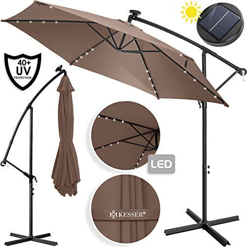 Kesser Alu Ampelschirm LED Solar Ø350cm + Abdeckung mit Kurbelvorrichtung UV-Schutz Aluminium mit An-/Ausschalter Wasserabweisend - Sonnenschirm Schirm Gartenschirm Marktschirm Taupe