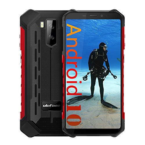 Ulefone Armor X5 (2020) 4G Android 10 Outdoor Handy Smartphones, 32GB Speicher 3GB RAM 5000mAh Akku Smart Button wasserdichte Kamera, Unterwassermodus, Handschuhmodus, 5,5 Zoll, Face WiFi GPS FM Rot