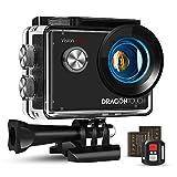 Dragon Touch Action Cam 4K, Action Kamera 20MP EIS Anti-Shake-Unterstützung Externes Mikrofon Unterwasserkamera 30M wasserdicht Sportskamera mit Montagezubehör Kit - Vision 4 Lite