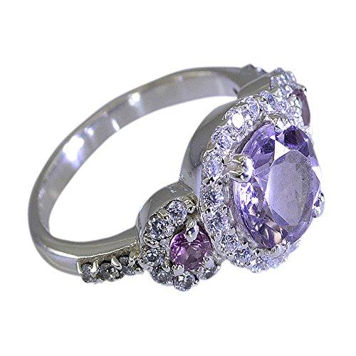 CaratYogi Feine Amethyst Silber Halo Verlobungsring Für Frauen Gemischte Form Birthstone Größen 48 (15.3)