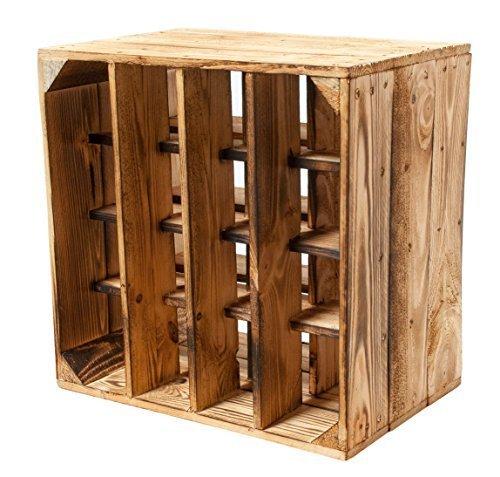 3er Set -Geflammtes Weinregal für bis zu 16 Flaschen 40x40x27 cm Kistenkolli Altes Land Wein Regal   Flaschenregal