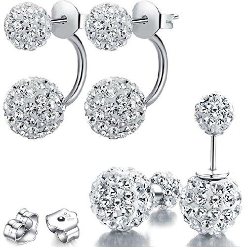Kim Johanson Damen Doppel Ohrringe Set 'Shamballa Dream' aus 925 Sterling Silber mit Zirkonia Steinchen besetzt inkl. Schmuckbeutel