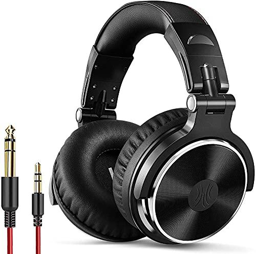 OneOdio Over Ear Kopfhörer mit Kabel, 50mm Treiber, Bassklang, 6.35 & 3.5mm Klinke, Share-Port, Geschlossene DJ Headphones für Studio, Podcast, Monitor, Handy, PC, MP3/4 (Pro-10 Schwarz)