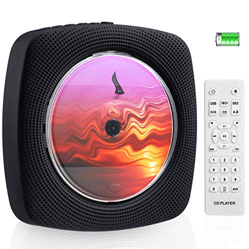 4000mAh Wiederaufladbarer CD Bluetooth Player mit 4 Stunden Spielzeit an der Wand montierbar CD Player Tragbar Eingebaute HiFi Lautsprecher mit Fernbedienung Musikplayer Unterstützung FM Radio