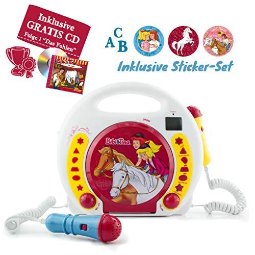 X4-TECH Bobby Joey - Bibi&Tina Edition - Tragbarer Kinder CD Player mit Mikrofon - USB SD + Sticker Set + Gratis Hörspiel: Bibi und Tina Das Fohlen