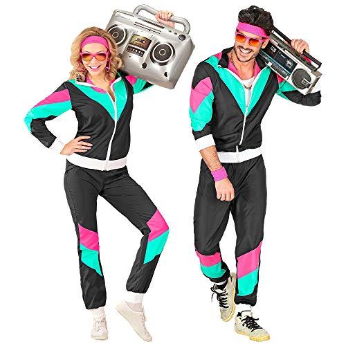 Widmann 10160 - Kostüm 80er Jahre Trainingsanzug, Jacke und Hose, angenehmer Tragekomfort, Assi Anzug, Proll Anzug, Retro Style, Bad Taste Party, 80ties, Karneval