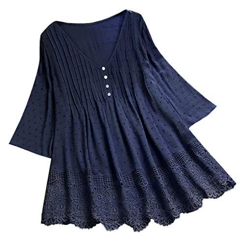 Oversize Oberteile für Damen,Dorical Frauen Sommer T-Shirt Rundhals Loose Lange Ärmel Drucken Shirts Bluse Tops,Casual Irregular Patchwork Damenkleidung
