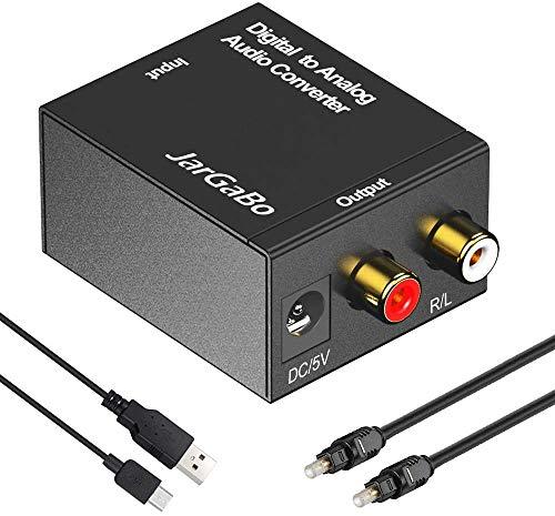 Digital zu Analog Audio Konverter, JarGaBo DAC Digital SPDIF Toslink zu Analog Stereo Audio Konverter Wandler mit Optischem Kabel, 5V/DC USB Kable, Schwarz