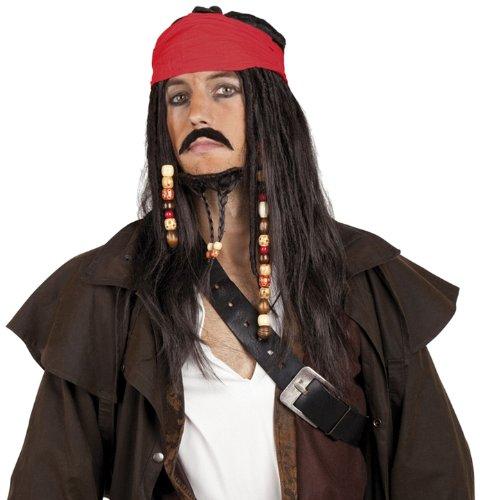 Boland 86343 - Perücke Pirat Tobias mit Bandana, Bart, Schnurrbart und Perlen, Schwarz, Bandit, Räuber, Captain, Accessoire, Motto Party, Karneval
