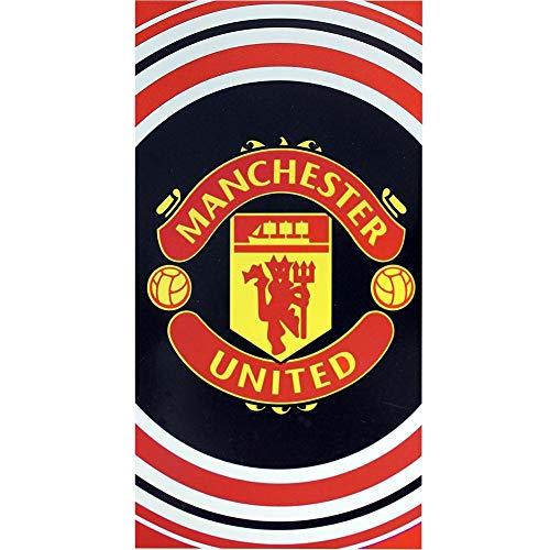 Manchester United FC Offizielles Pulse-Design-Handtuch Gr. Einheitsgröße, schwarz/rot/weiß
