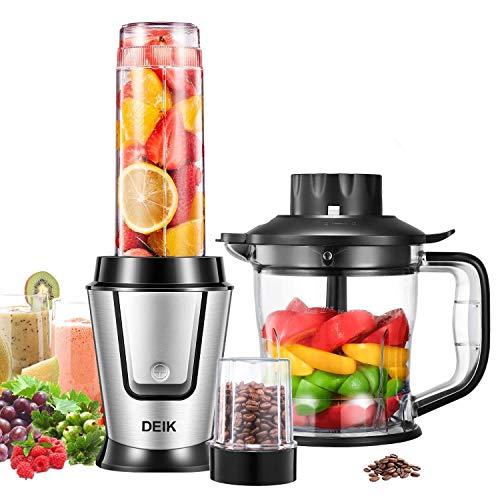 DEIK Mixer Smoothie Maker, 3 in 1 MiniMultifunktion Standmixer für Shakes, Smoothies, Obst, Gemüse mit Fleisch Zerkleinerer/Ice Crusher, Kaffeemühle, 4000U/Min, 570ml Sport-Flasche BPA frei, 500 W