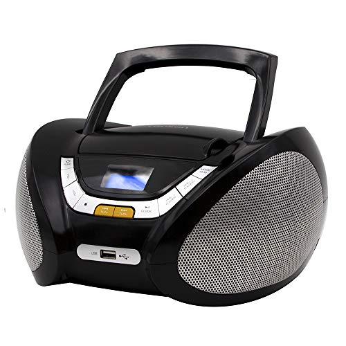 Lauson CP445 Tragbarer CD Player USB | Boombox | USB | Kinder Radio mit Cd Spieler | kopfhöreranschluss | CD Player für Kinder | Netz & Batterie (Schwarz)