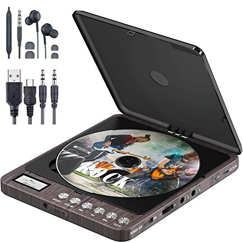 Tragbarer CD Player, Persönlicher Wiederaufladbar MP3 CD Player mit Doppelte 3.5mm Kopfhörern Buchse Disc Walkman mit stoßfester Schutz Für zu Hause, im Auto & Reisen (Brown)